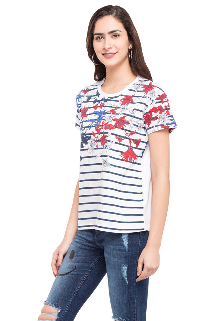 Striped Floral Print T-shirt-5