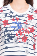 Load image into Gallery viewer, Striped Floral Print T-shirt-6