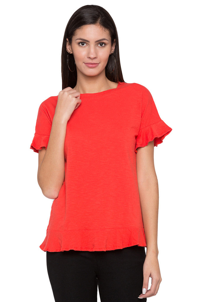 Back Ruffle Detail Solid Top-1
