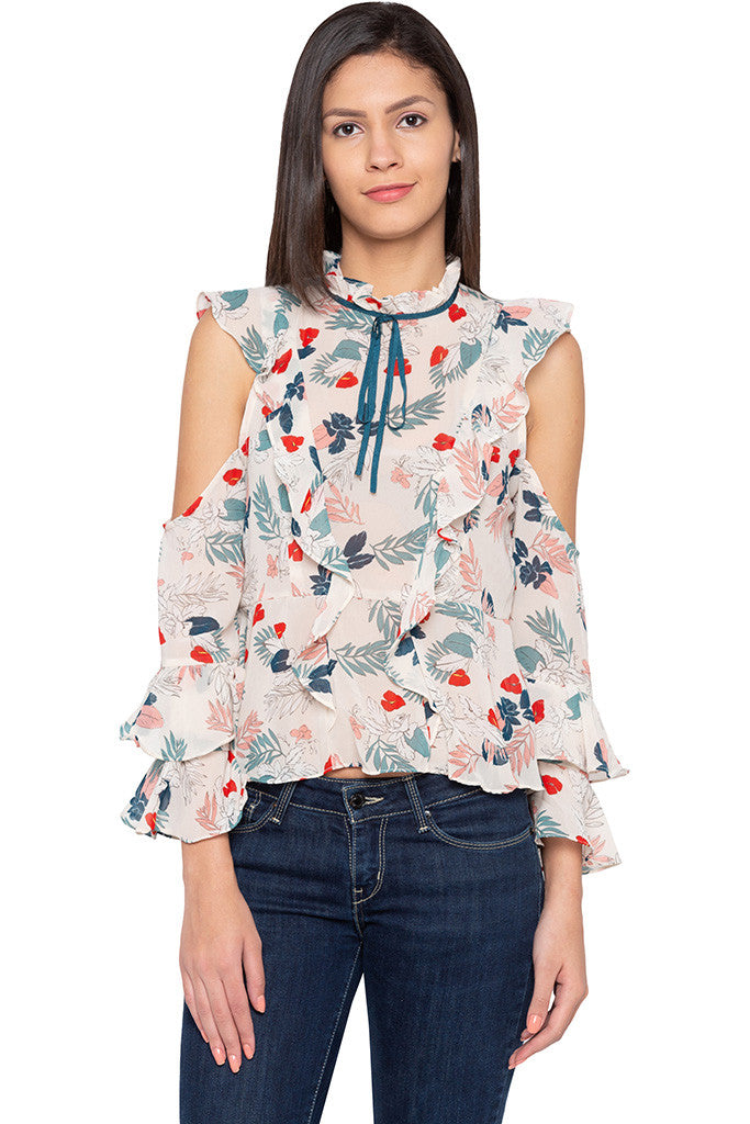 Ruffle Cold Shoulder Floral Print Top-1