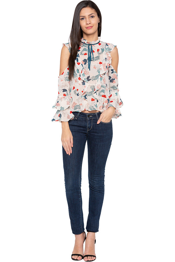 Ruffle Cold Shoulder Floral Print Top-2