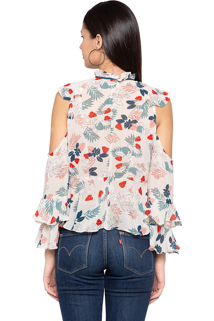 Ruffle Cold Shoulder Floral Print Top-3