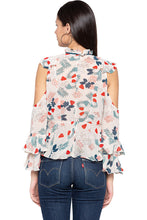 Load image into Gallery viewer, Ruffle Cold Shoulder Floral Print Top-3