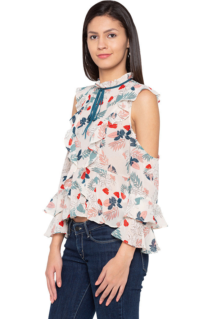 Ruffle Cold Shoulder Floral Print Top-4