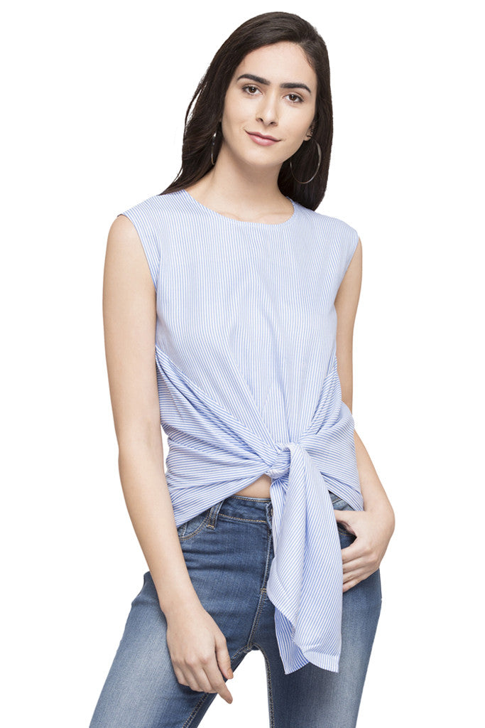 Front Tie-Up Striped Top-1