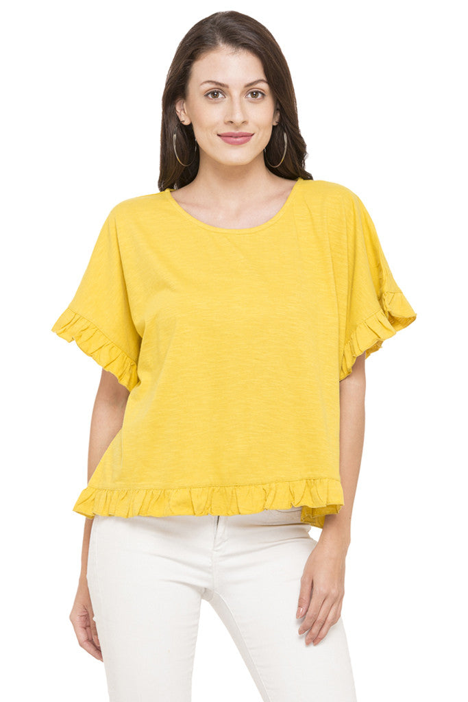 Solid Ruffled Hem Top-1