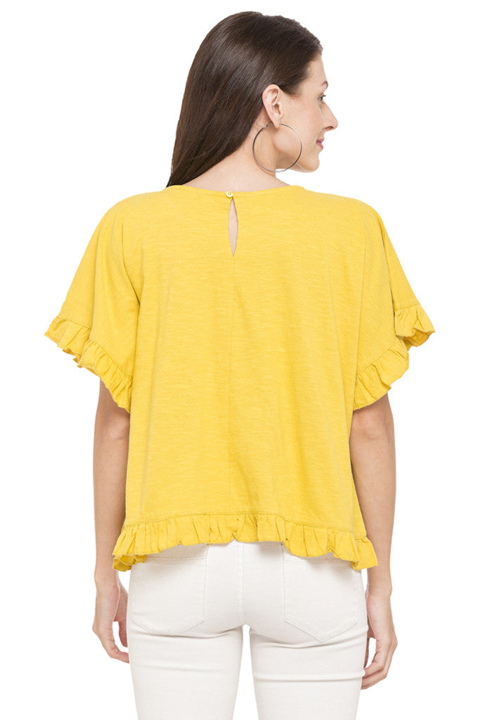 Solid Ruffled Hem Top-3