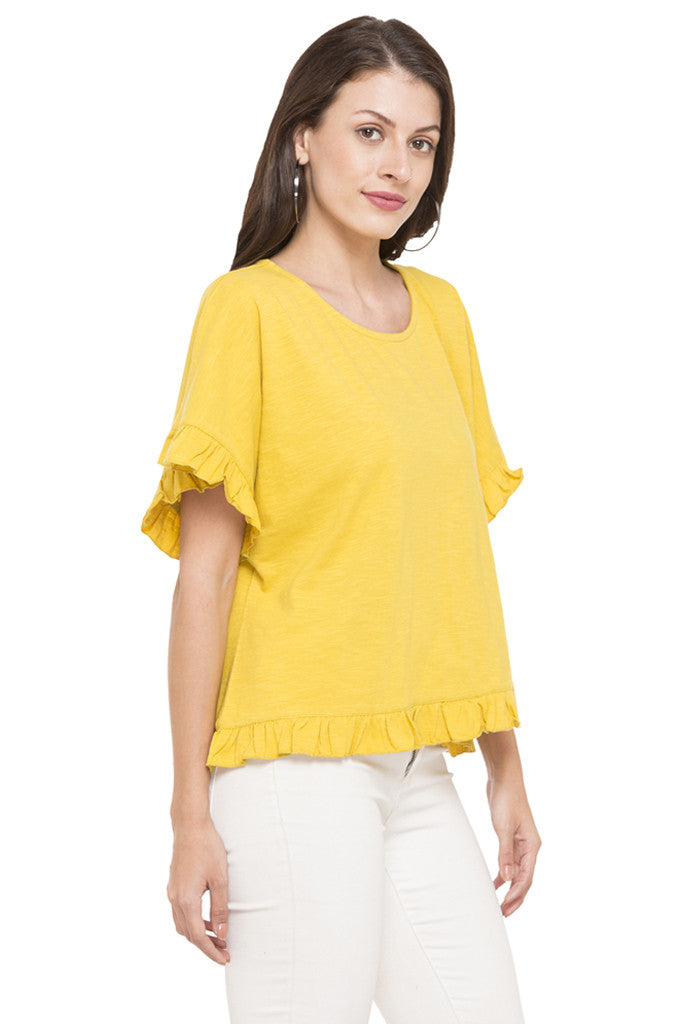 Solid Ruffled Hem Top-4