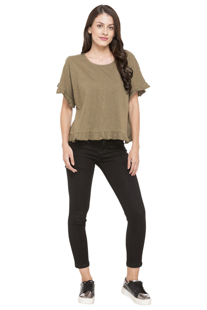 Solid Ruffled Hem Top-2