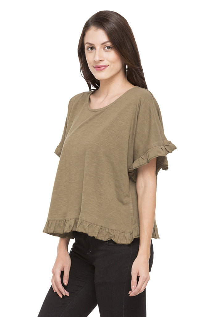 Solid Ruffled Hem Top-5