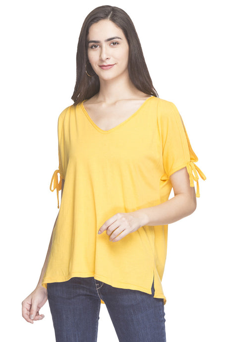V-neck Cold Shoulder Solid Top-1
