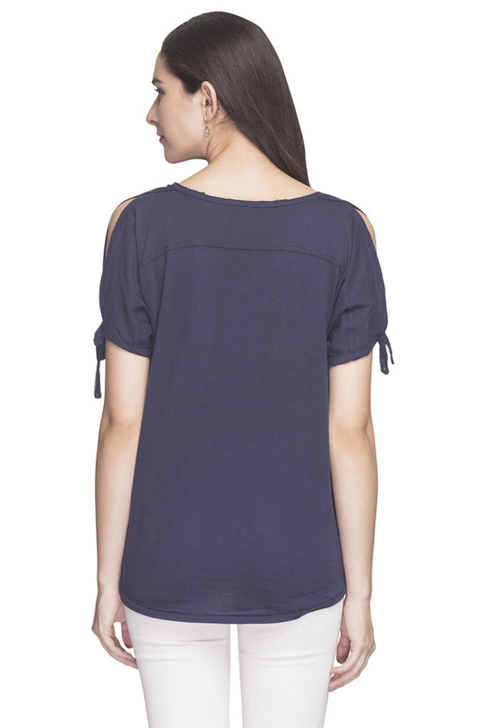 V-neck Cold Shoulder Solid Top-3