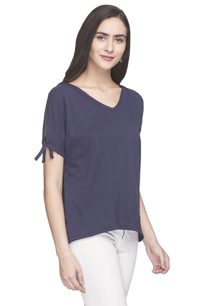 V-neck Cold Shoulder Solid Top-4