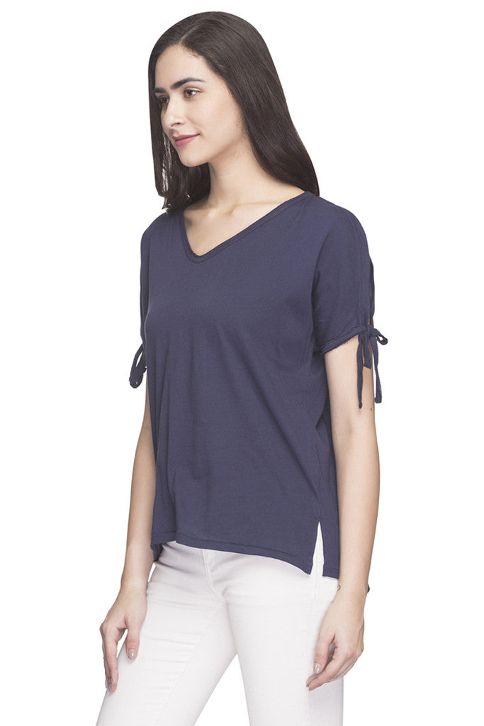 V-neck Cold Shoulder Solid Top-5