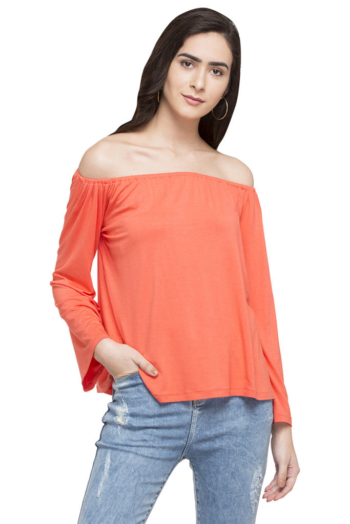 Off Shoulder Solid Top-1
