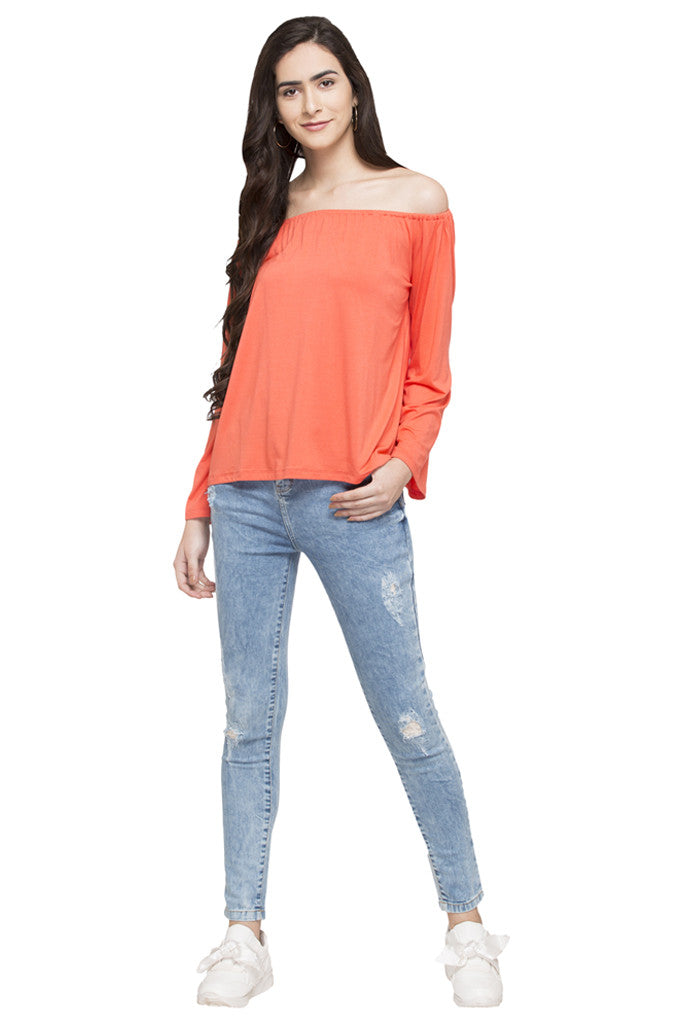 Off Shoulder Solid Top-2