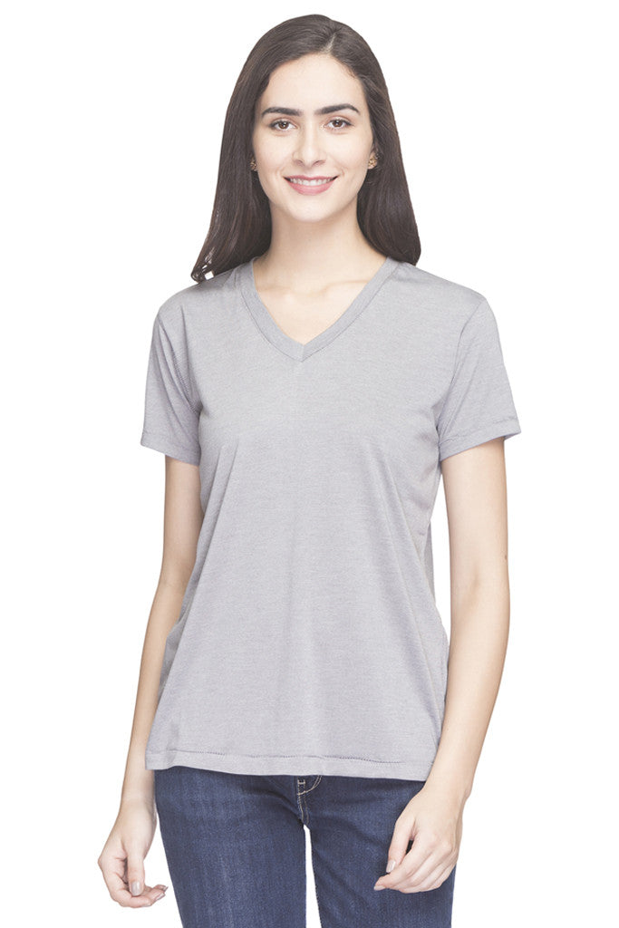 Solid V-neck Top-1