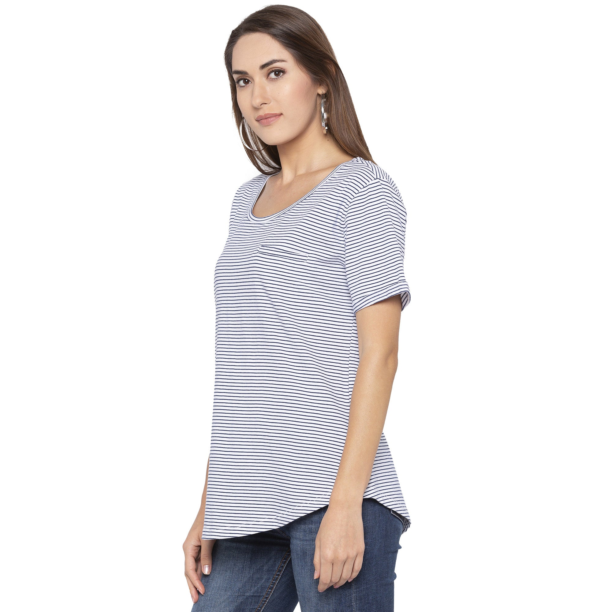 Casual Navy Blue Color Striped Regular Fit Tops-2