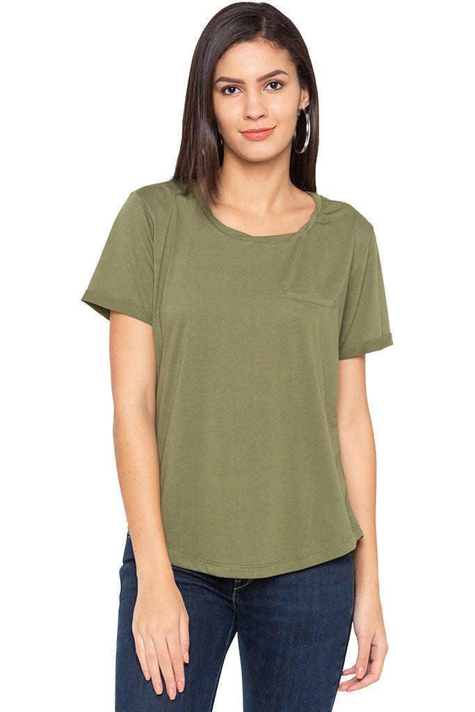 Curved Hem Solid T-shirt-1