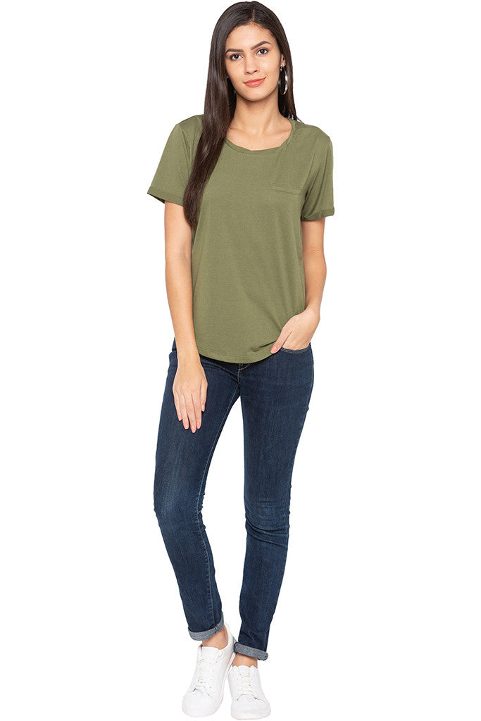 Curved Hem Solid T-shirt-2