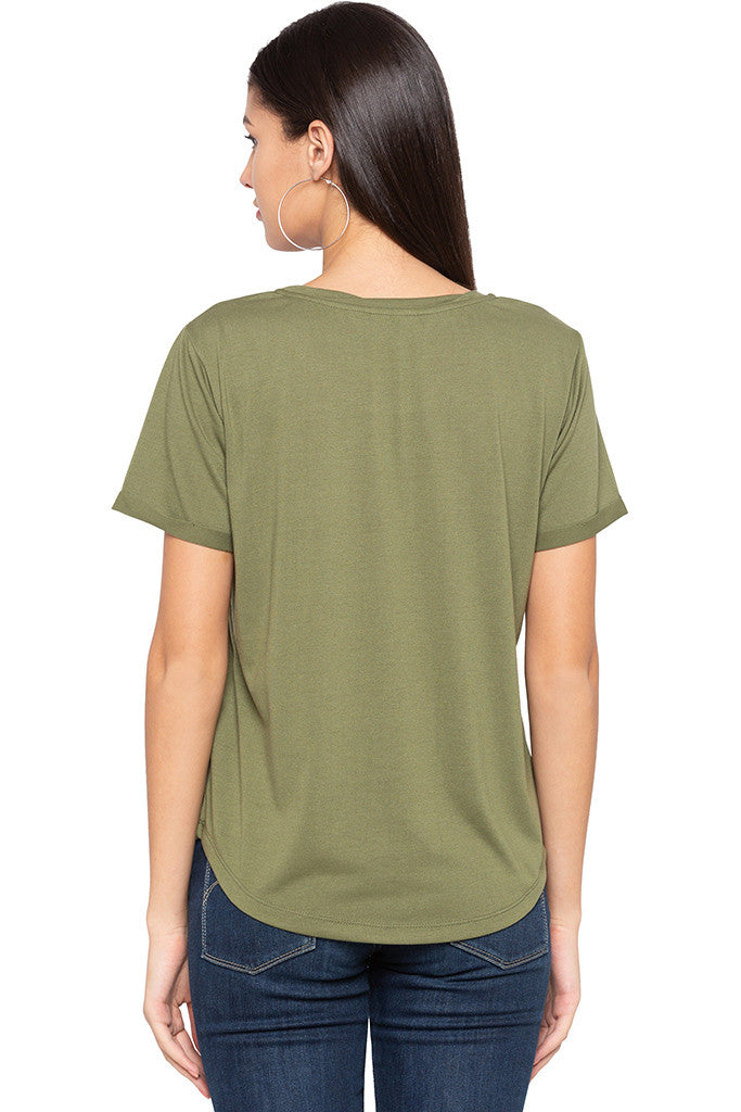 Curved Hem Solid T-shirt-3
