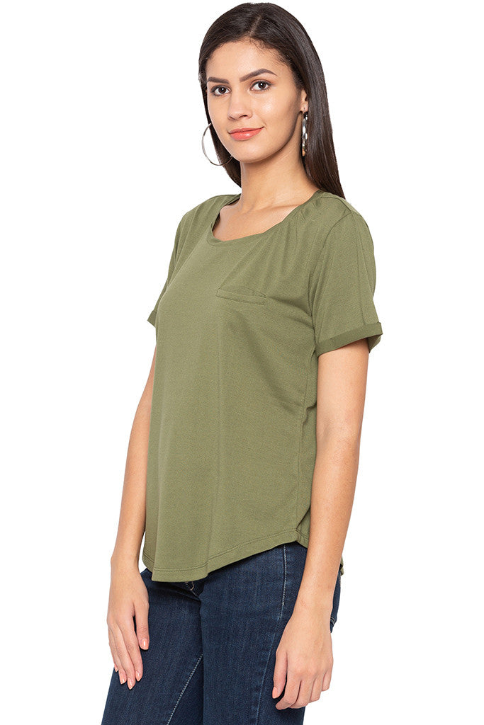 Curved Hem Solid T-shirt-4