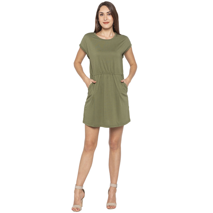 Casual Olive Color Solid A-Line Dress-1