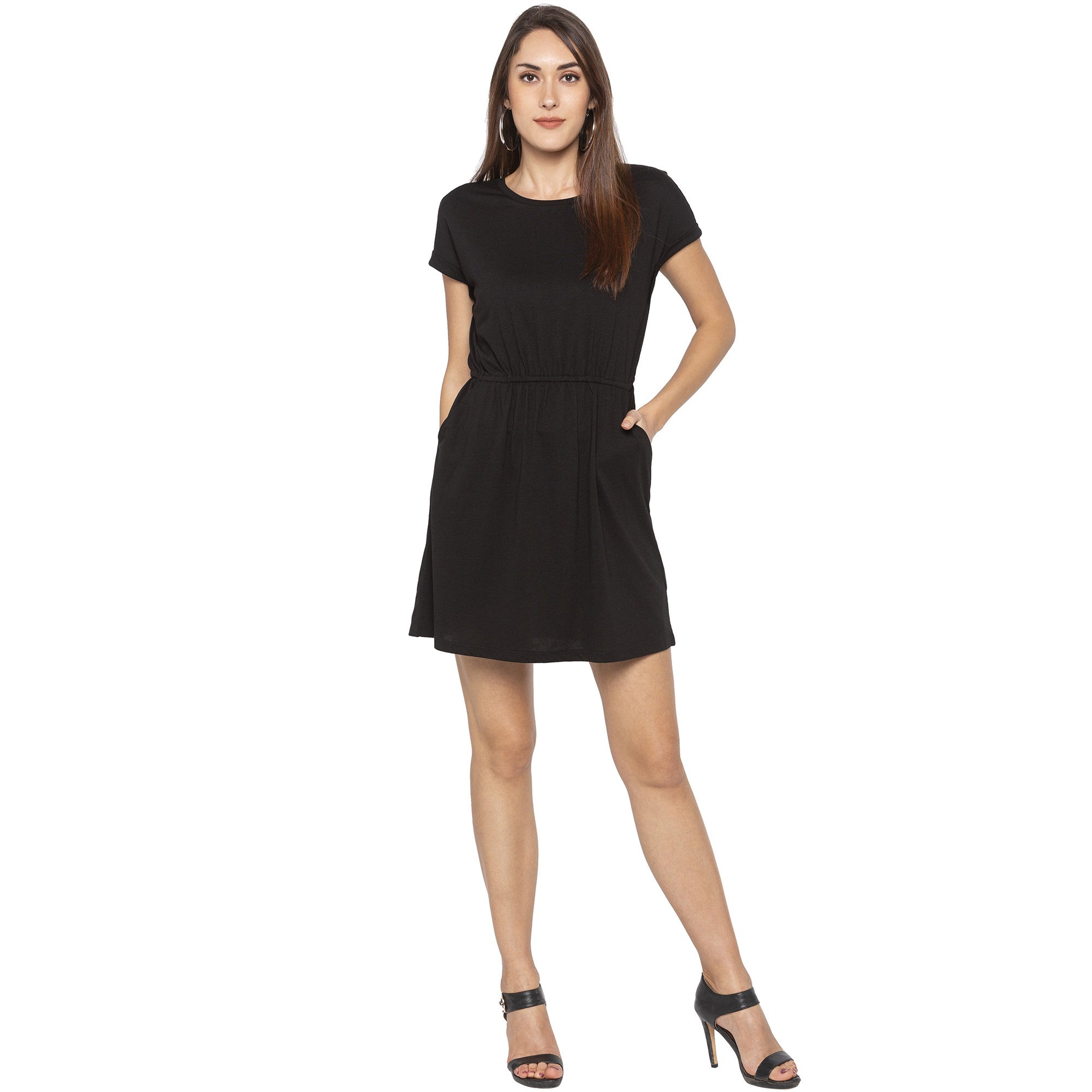 Casual Black Color Solid A-Line Dress-1