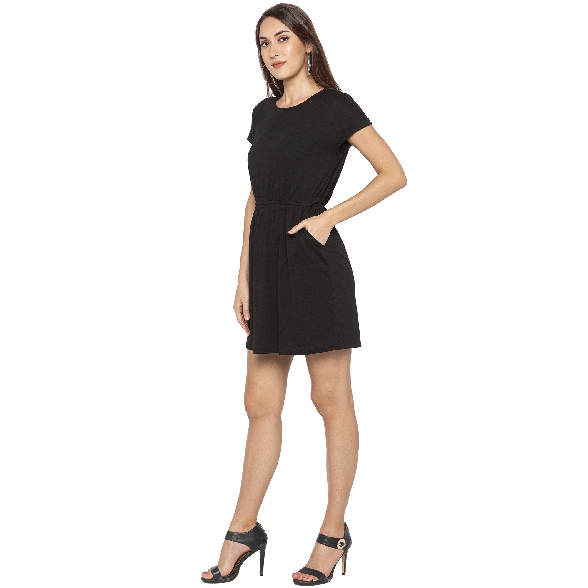 Casual Black Color Solid A-Line Dress-2