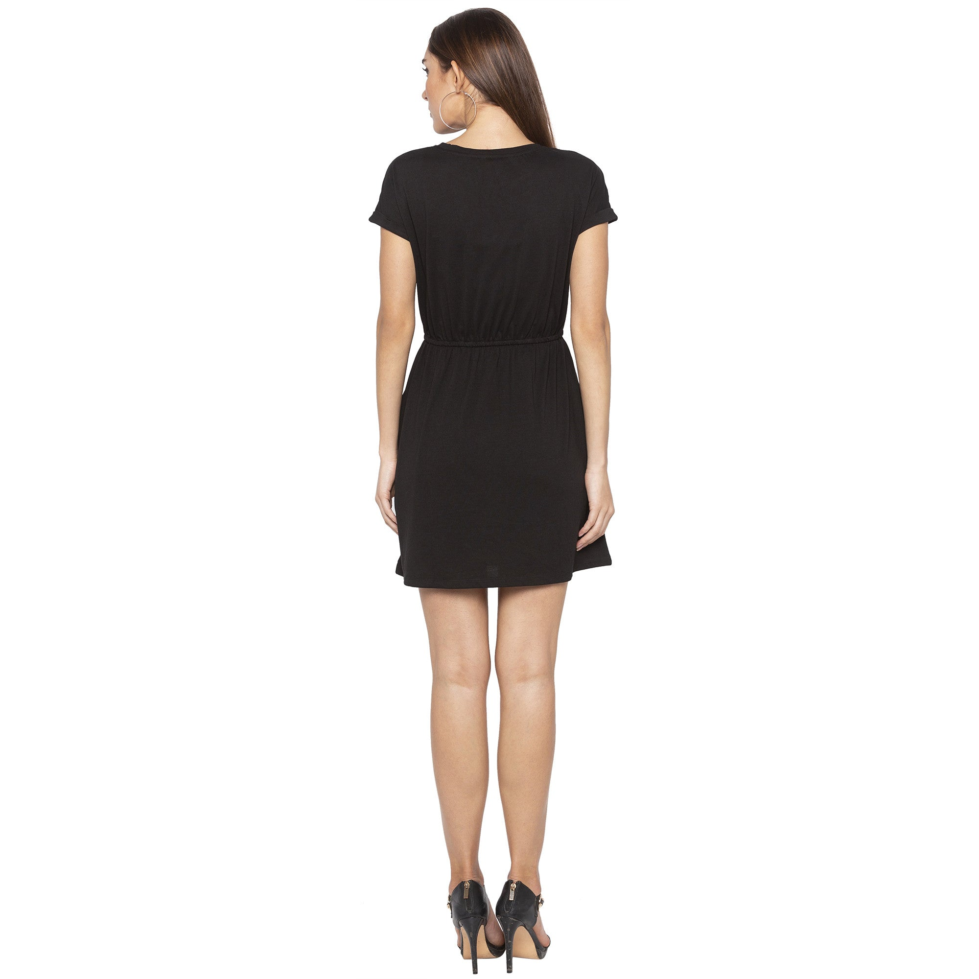 Casual Black Color Solid A-Line Dress-3
