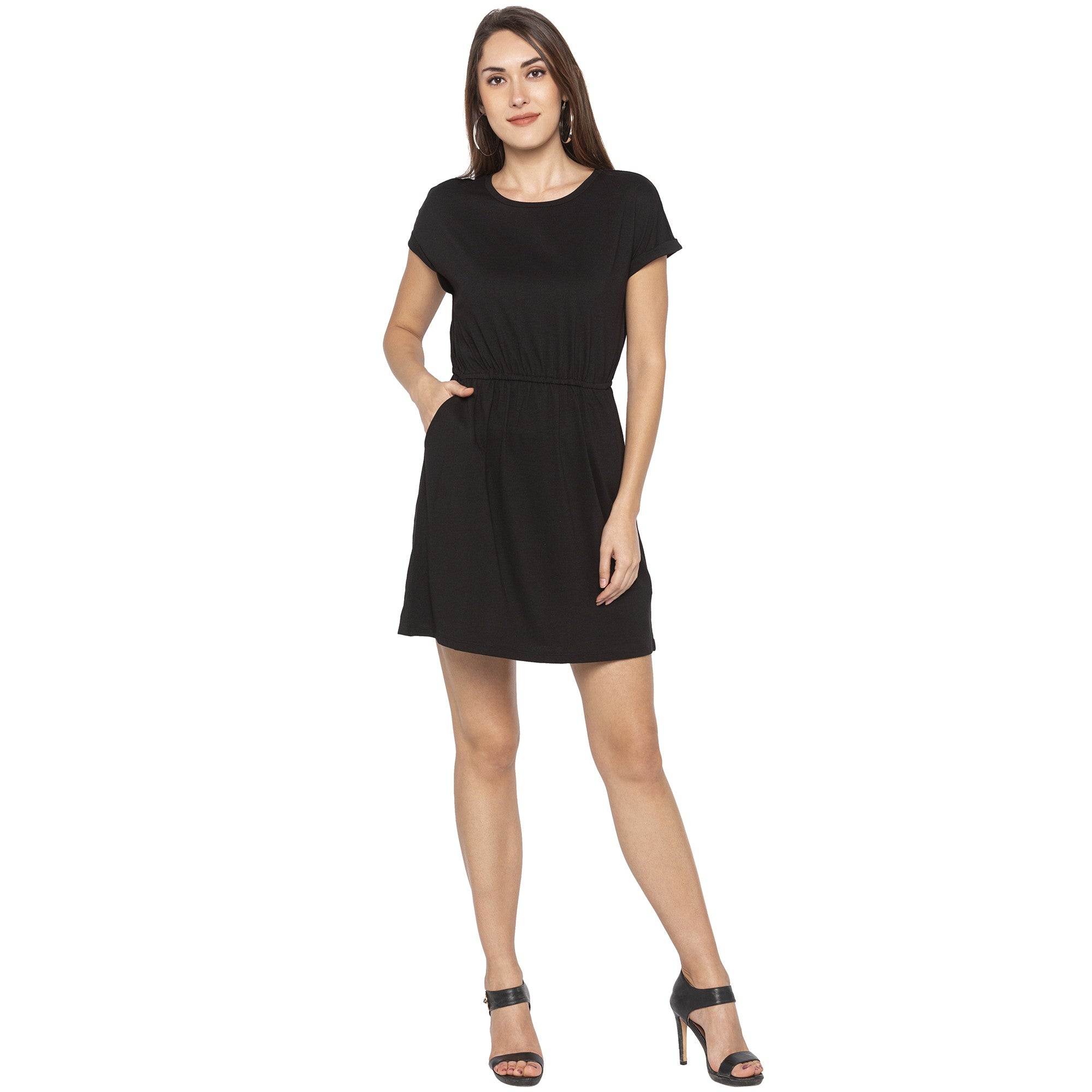 Casual Black Color Solid A-Line Dress-4