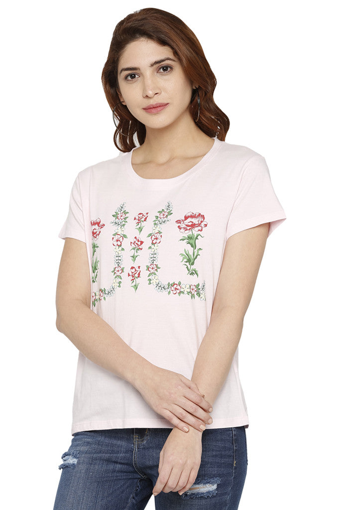 Floral Wreath Print T-shirt-1