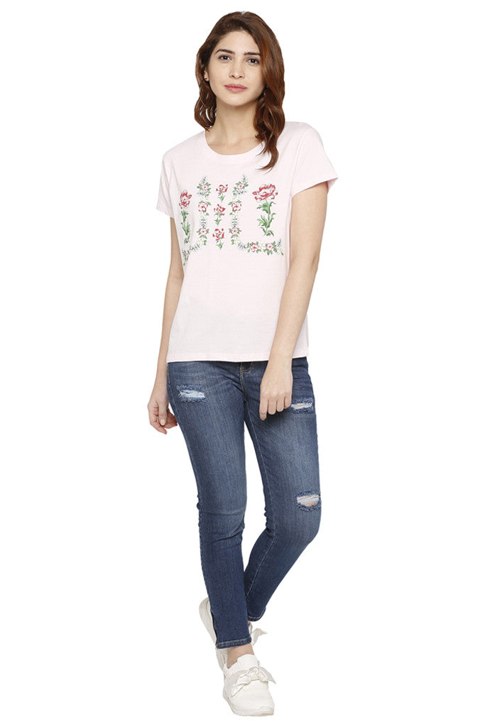 Floral Wreath Print T-shirt-2