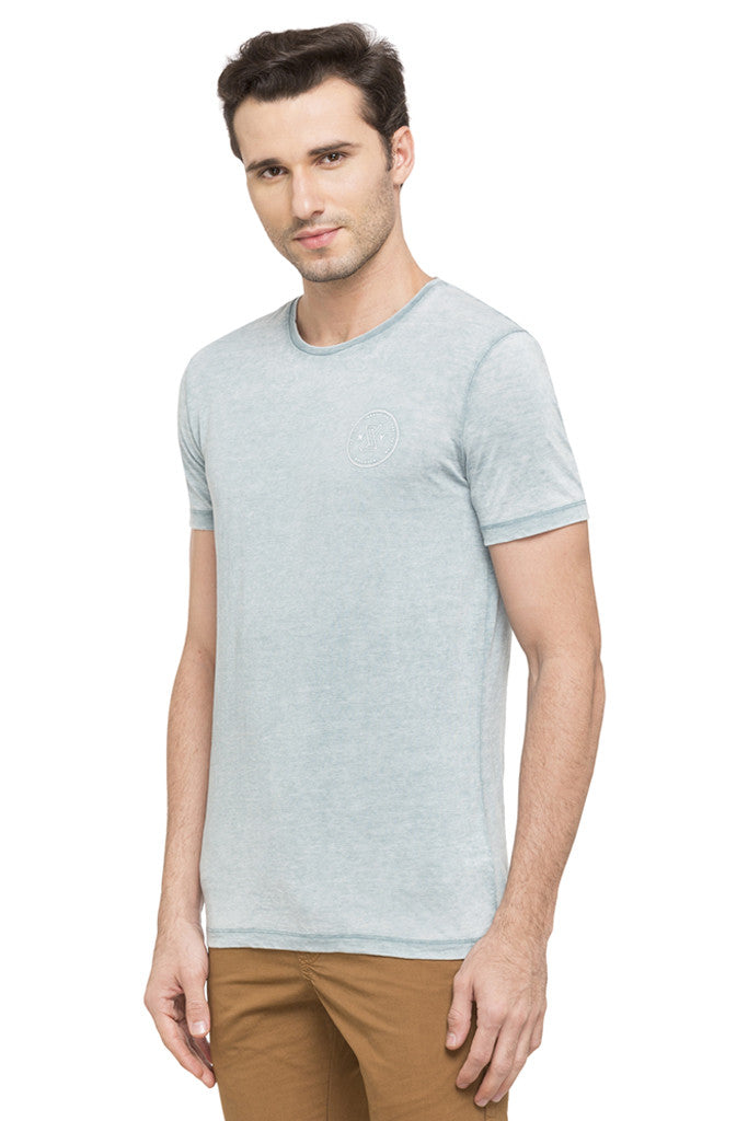 Solid Round Necked T-shirt-5