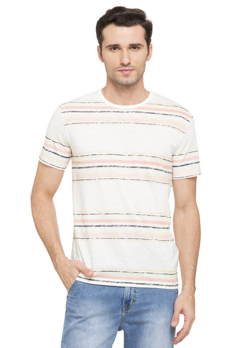 Striped Round Neck T-shirt-1