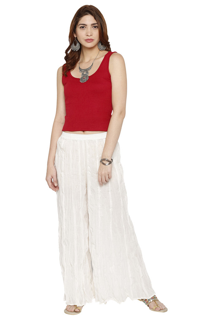 Solid Cotton Crushed Palazzos-2