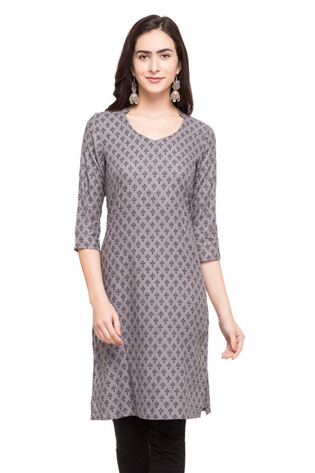 Printed Grey Kurta-1