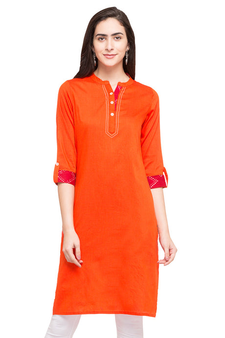 Solid Orange Kurta-1