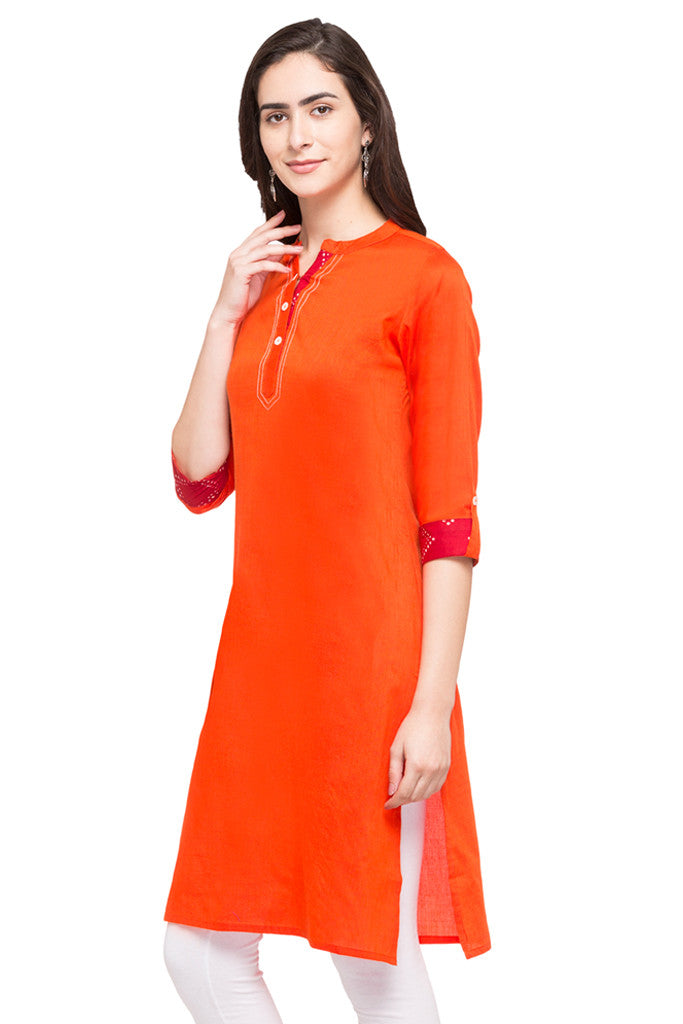Solid Orange Kurta-2