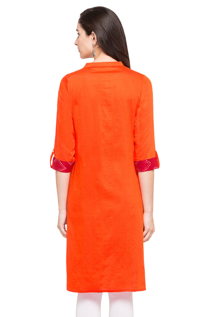 Solid Orange Kurta-3