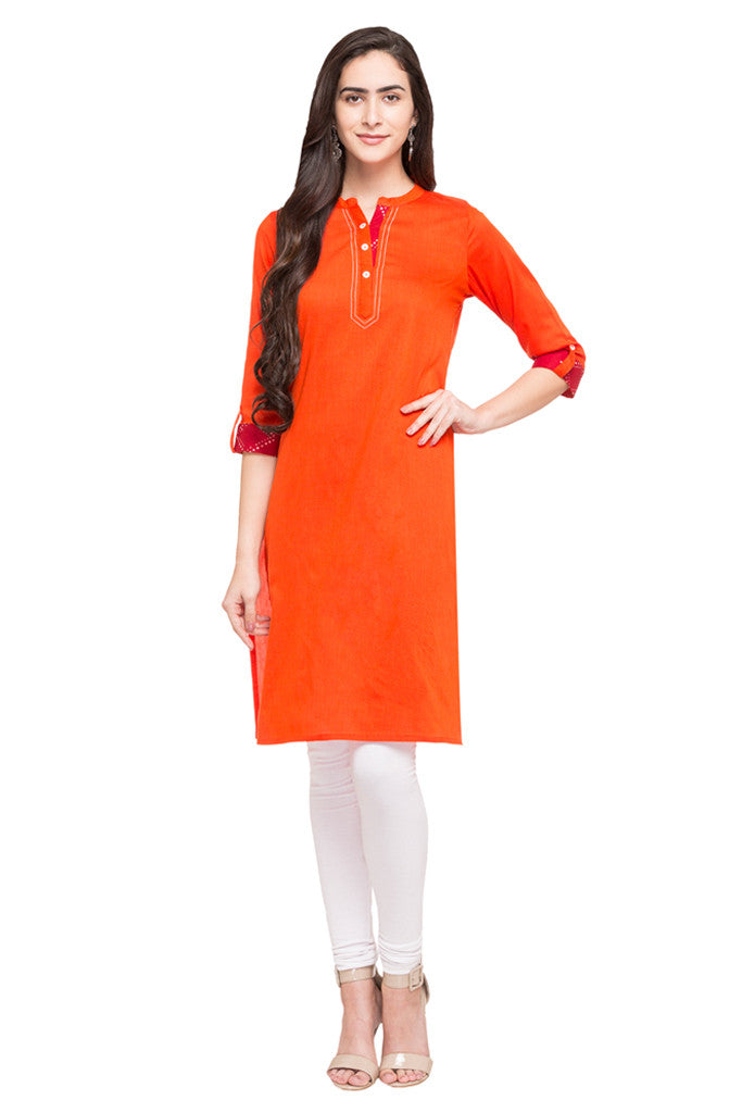 Solid Orange Kurta-5