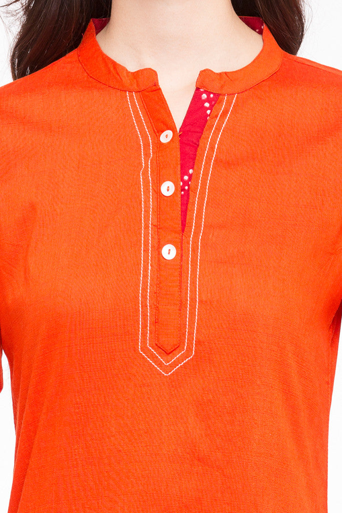 Solid Orange Kurta-6