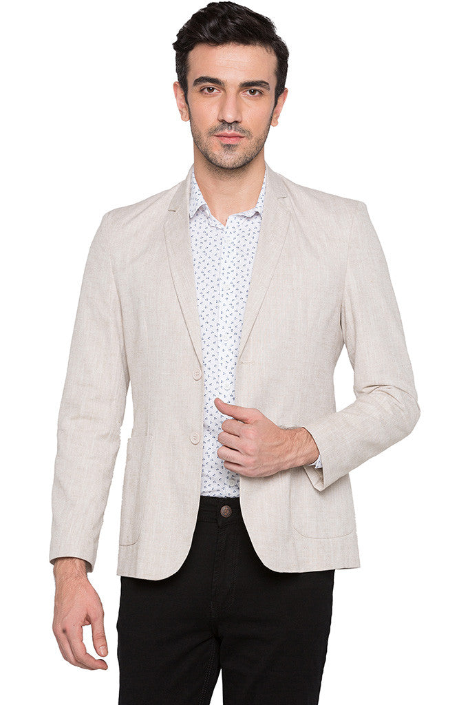 Slim Fit Casual Beige Jacket-1