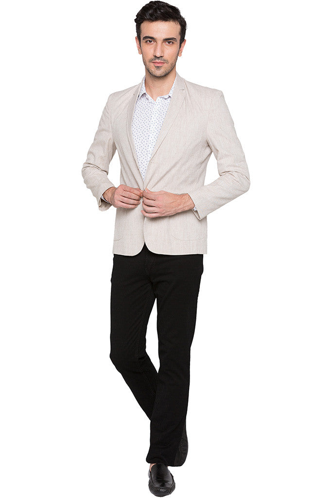 Slim Fit Casual Beige Jacket-2