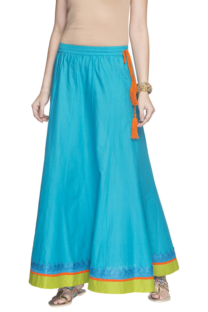 Contrast Border Solid Long Skirt-1