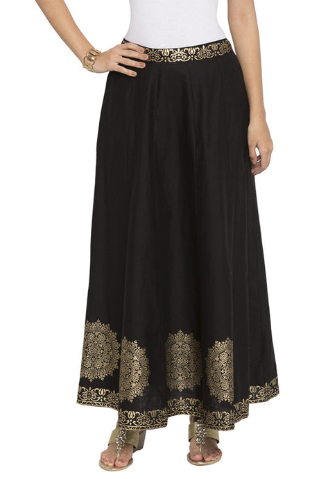 Ethnic Print Flared Ethnic Skirt-1
