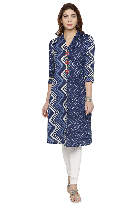 Shirt Collar Printed Kurta-1
