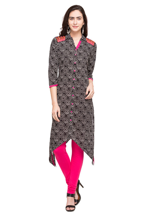 Printed Black Kurta-1