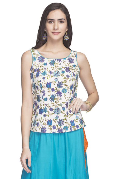 Sleeveless Floral Print Top-1