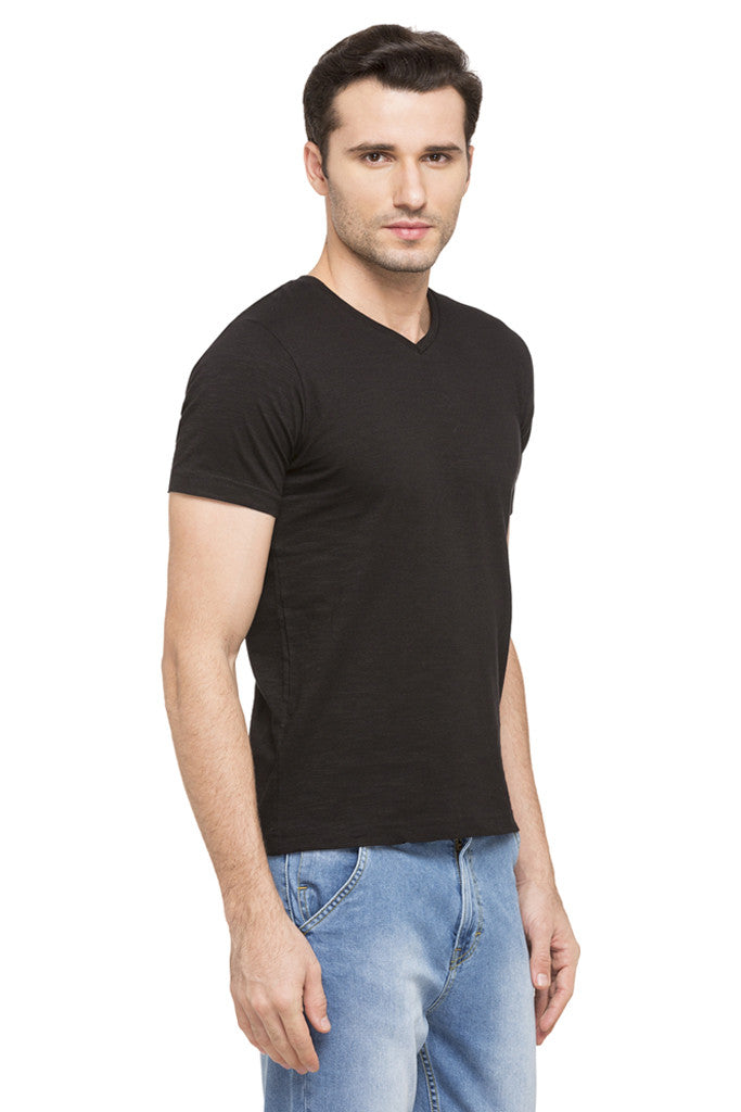 V-neck Solid Slub T-shirt-4